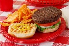 Hamburger op een picknicklijst Stock Afbeelding