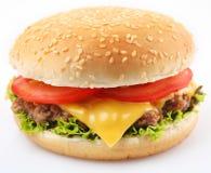 Hamburger op een wit stock foto's