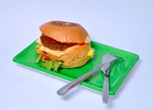 Hamburger op groene plaat Royalty-vrije Stock Foto
