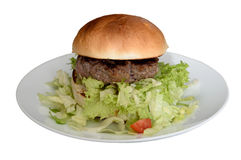 Hamburger op plaat Stock Foto's