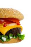 Hamburger op wit stock afbeeldingen