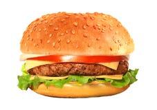 Hamburger op wit wordt geïsoleerd dat stock afbeelding