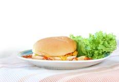Hamburger op wit wordt geïsoleerd dat Royalty-vrije Stock Fotografie