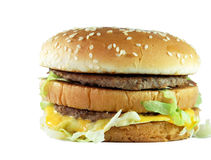 Hamburger op witte achtergrond Stock Foto's