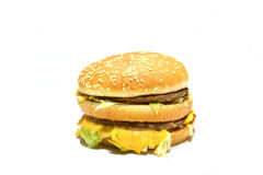 Hamburger op witte achtergrond Royalty-vrije Stock Fotografie