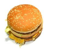 Hamburger op witte achtergrond Stock Afbeeldingen