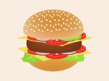 Hamburger ou hamburguer isolado no fundo Fotos de Stock Royalty Free