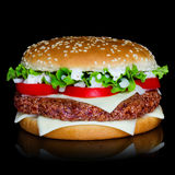 Hamburger over black background Royalty Free Stock Photography