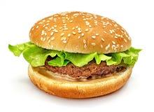 Hamburger, panino, hamburger con insalata verde, tortini della carne e panini con i semi di sesamo su un fondo bianco Fotografia Stock