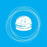 Hamburger, panino, icona dell'hamburger su un fondo blu con i cerchi astratti intorno ed il posto per il vostro testo Immagini Stock