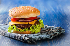 Hamburger on paper Stock Image