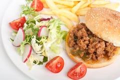 Hamburger paresseux de boeuf image stock