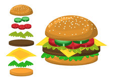 Hamburger parts vector symbol icon design. Stock Images