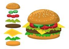 Hamburger parts vector symbol icon design. Hamburger vector symbol icon design. Beautiful illustration isolated on white background Stock Images
