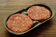 Hamburger patties. In a black container Stock Images