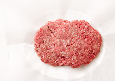 Hamburger patties ready for cooking. Hamburger meat patties, hand ground extra lean ground beef Royalty Free Stock Images