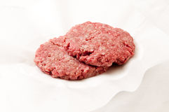 Hamburger patties ready for cooking. Hamburger meat patties, hand ground extra lean ground beef Royalty Free Stock Photo