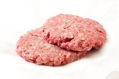 Hamburger patties ready for cooking. Hamburger meat patties, hand ground extra lean ground beef Royalty Free Stock Image