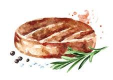 Hamburger Patty del manzo, rosmarini, sale e pepe Illustrazione disegnata a mano dell'acquerello, isolata su fondo bianco illustrazione vettoriale