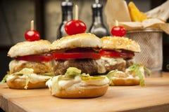 Hamburger pequenos com tomate de cereja fotografia de stock