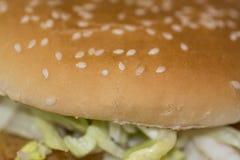 Hamburger, petit pain avec des graines, et salade de côtelette avec la mayonnaise, Photo libre de droits