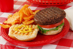 Hamburger on a picnic table Stock Image