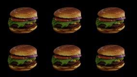 Hamburger-Piktogramm 6 Tage in der Woche stockbilder