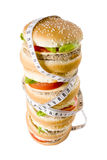 Hamburger pile viewed from up. Hamburger pile with tape measure in a white background Royalty Free Stock Photography