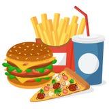 Hamburger, pizza, dłoniaki i napój na białym tle, Zdjęcie Royalty Free