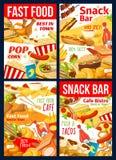 Hamburger, pizza, hotdog e sanduíches do fast food ilustração stock
