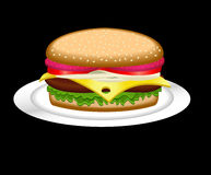 Hamburger on a plate Stock Photography