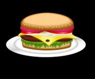 Hamburger on a plate Stock Photography