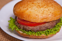 Hamburger on a plate Royalty Free Stock Photo