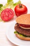 Hamburger on a plate Royalty Free Stock Photos