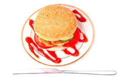 Hamburger on a plate Stock Photos
