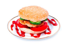 Hamburger on a plate Royalty Free Stock Photography