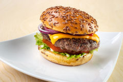 Hamburger on plate. Burger with tomato , lettuce , mayonnaise , cheese , onion , ketchup and flax seeds on white dish Royalty Free Stock Photo