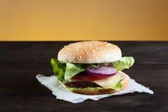 Hamburger on plate Stock Photo