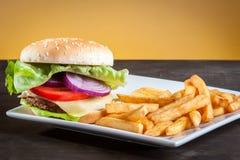 Hamburger on plate Royalty Free Stock Image