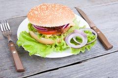 Hamburger on plate Royalty Free Stock Photography