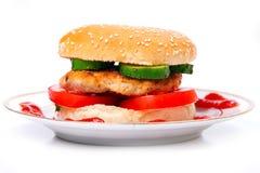 Hamburger on a plate stock photo
