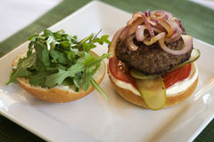 Hamburger on plate with onions on top Royalty Free Stock Photos