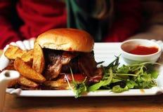 Hamburger on plate with salad Royalty Free Stock Image