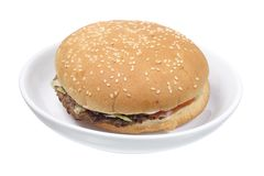 Hamburger on Plate Royalty Free Stock Images