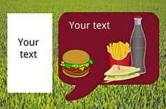 Hamburger, pommes frites, boisson, sandwich Photos libres de droits