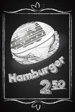 Hamburger Poster on the Chalkboard Stock Photo