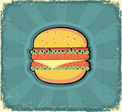 Hamburger poster.Retro image on old paper Stock Image