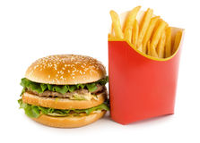Hamburger and potato Stock Photography