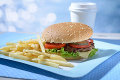 Hamburger and potato Royalty Free Stock Photography