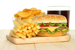 Hamburger, potato free and chips with cola Royalty Free Stock Image